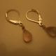 top view of rose quartz briolette drop silver earrings